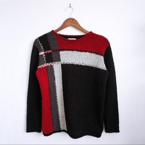 Vintage Geometric Colour Block Stitch Sweater